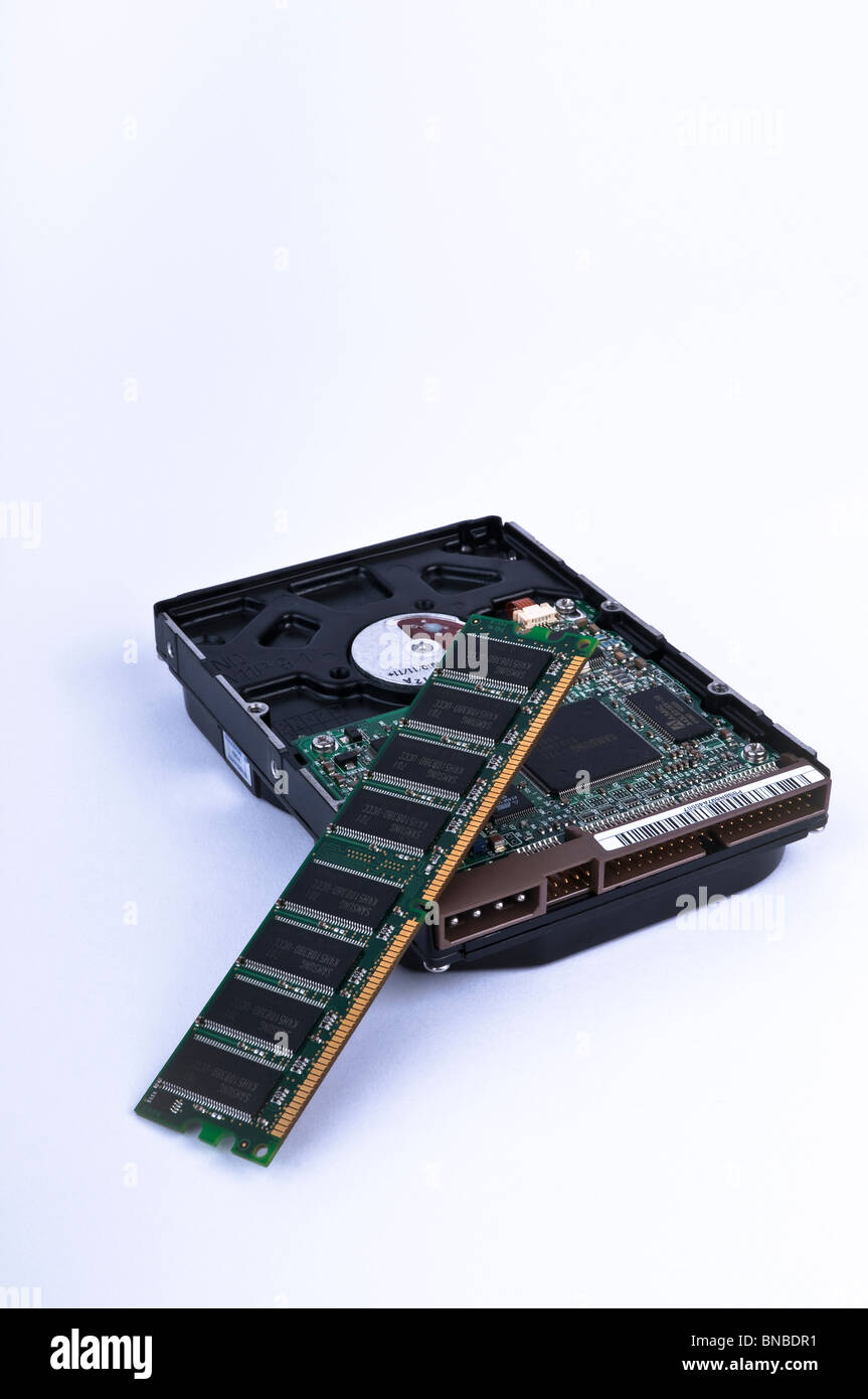 RAM memory with hard drive from a personal computer, PC - Stock Image