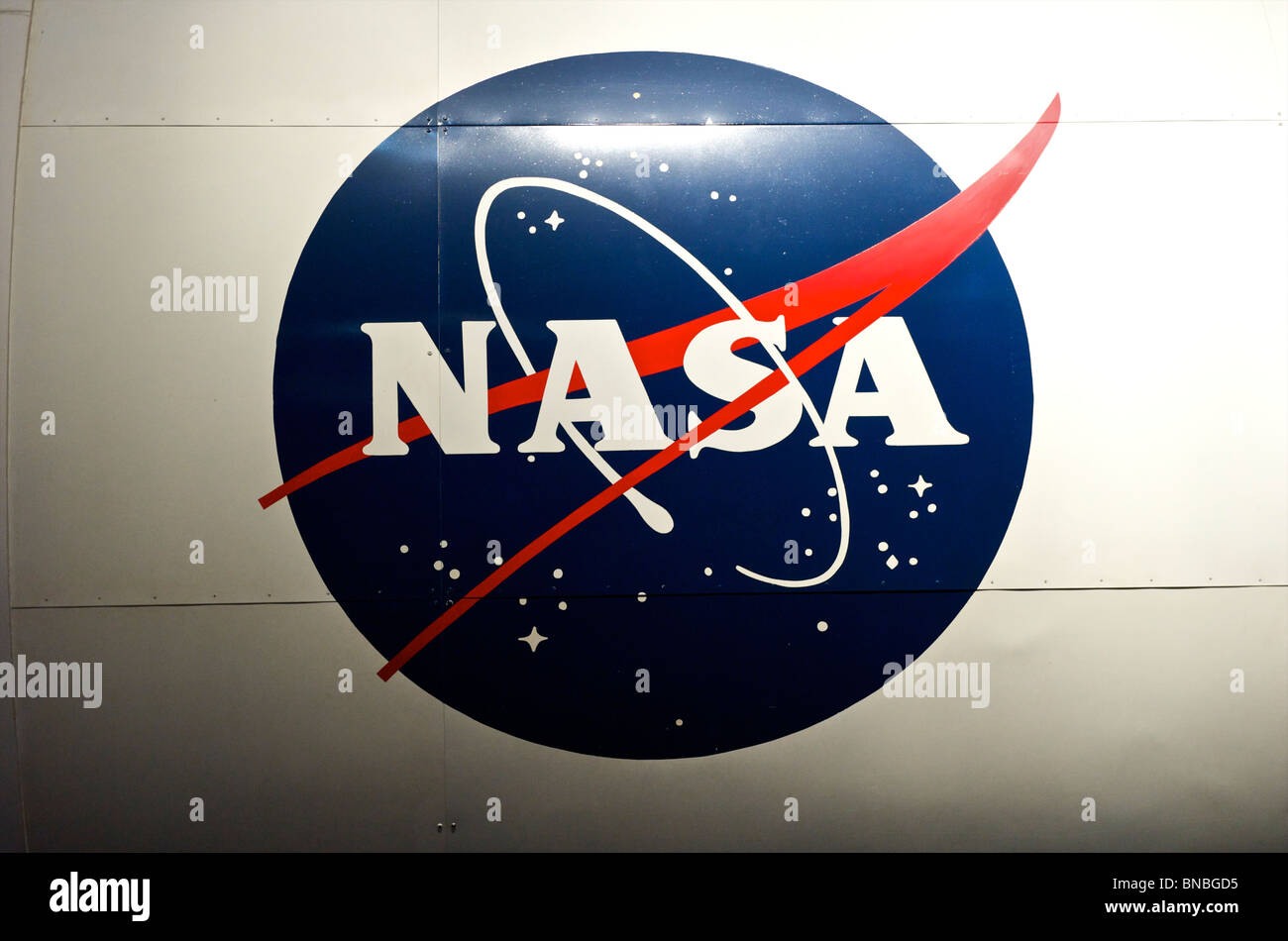NASA logo on the Space Shuttle at space centre in Houston, Texas, North America, USA - Stock Image