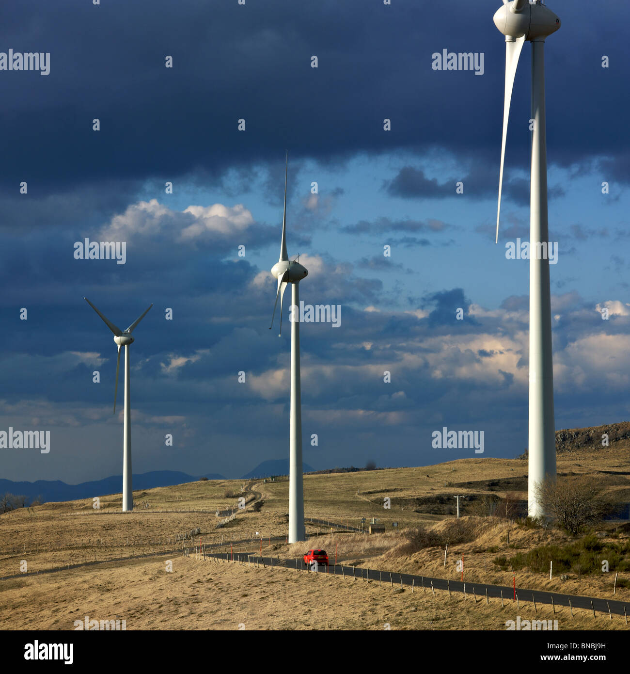 Wind turbine group in the countryside. - Stock Image