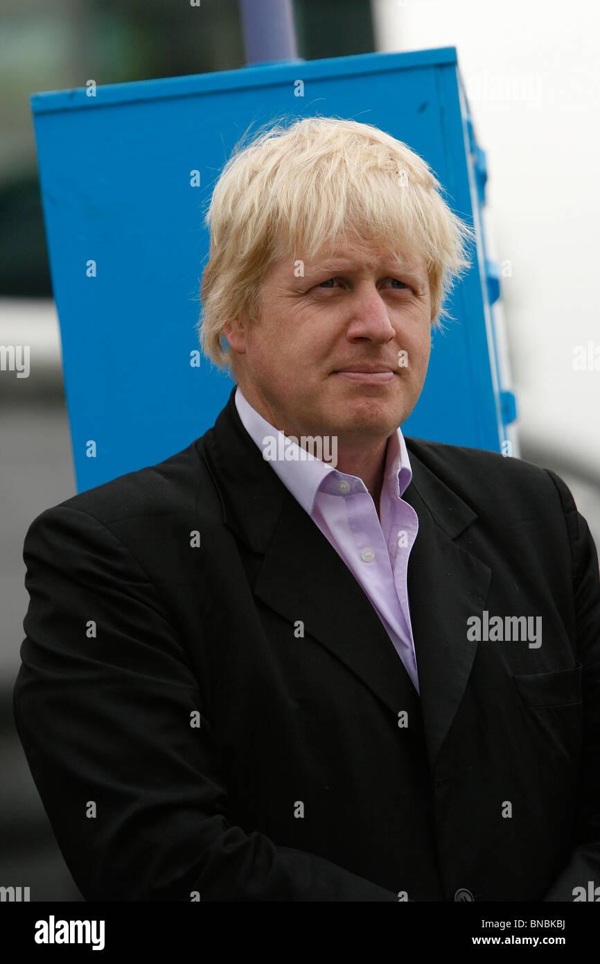Mayor of London Boris Johnson outside City Hall - Stock Image