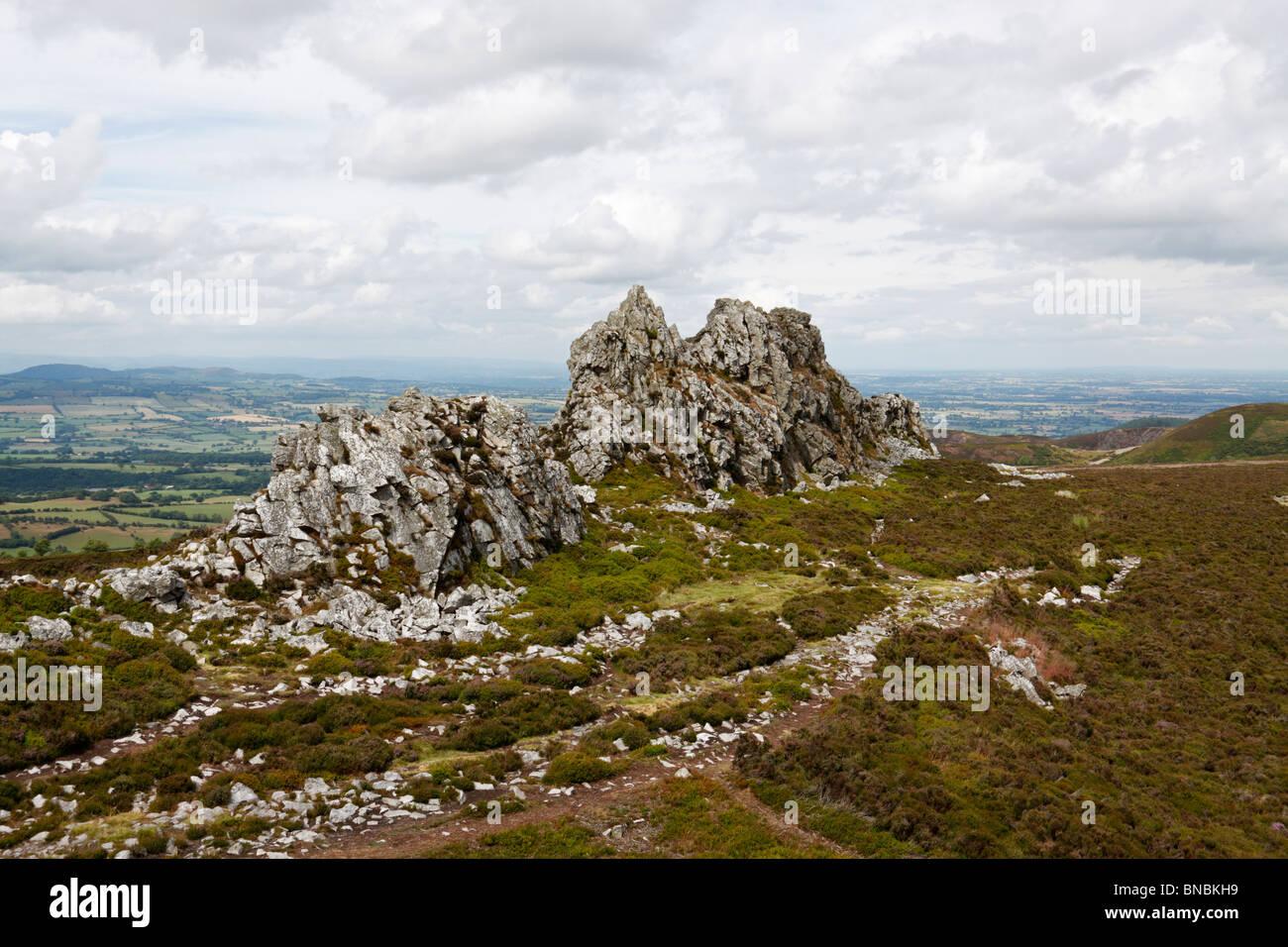 The Devil's Chair Quartzite outcrops at Stiperstones, Shropshire Hills AONB - Stock Image