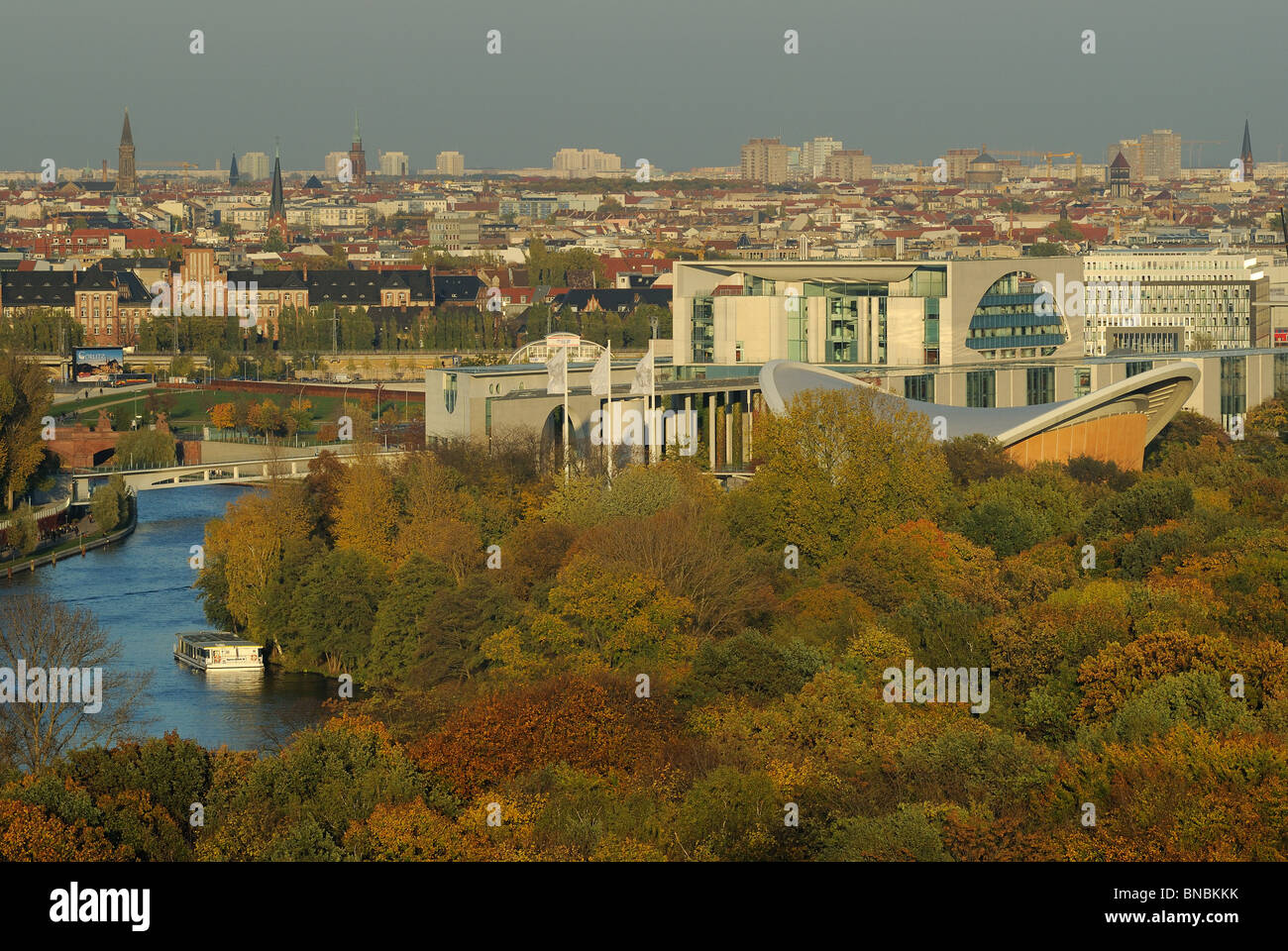 Grosser Tiergarten Park, view from above, Federal Chancellery, House of World Cultures, skyline of Berlin Mitte, - Stock Image