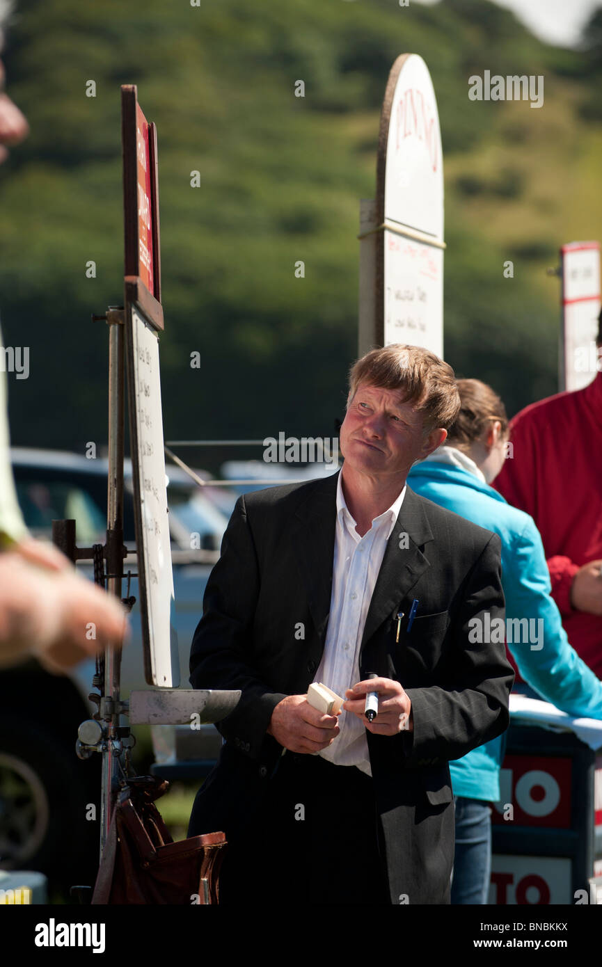 On course bookies taking bets at trotting races, Tan y Castell Aberystwyth Wales UK - Stock Image