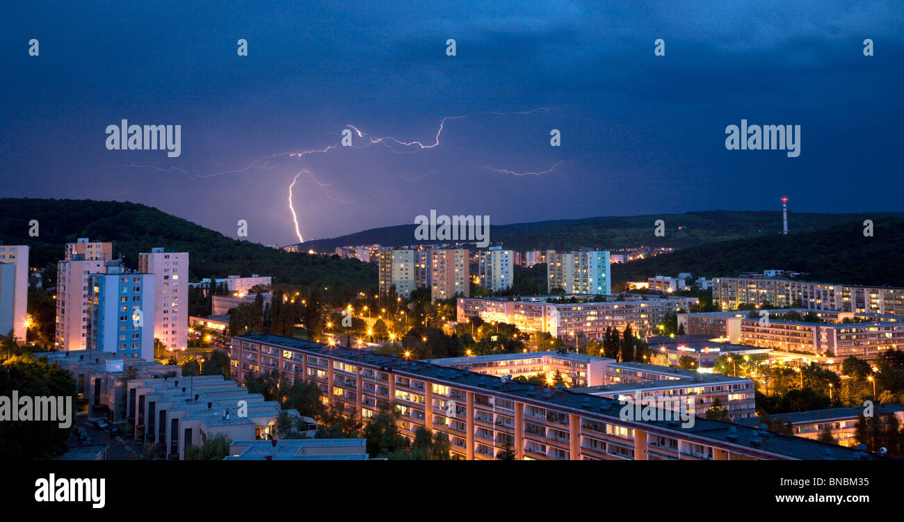 bold over the night Bratislava - Stock Image