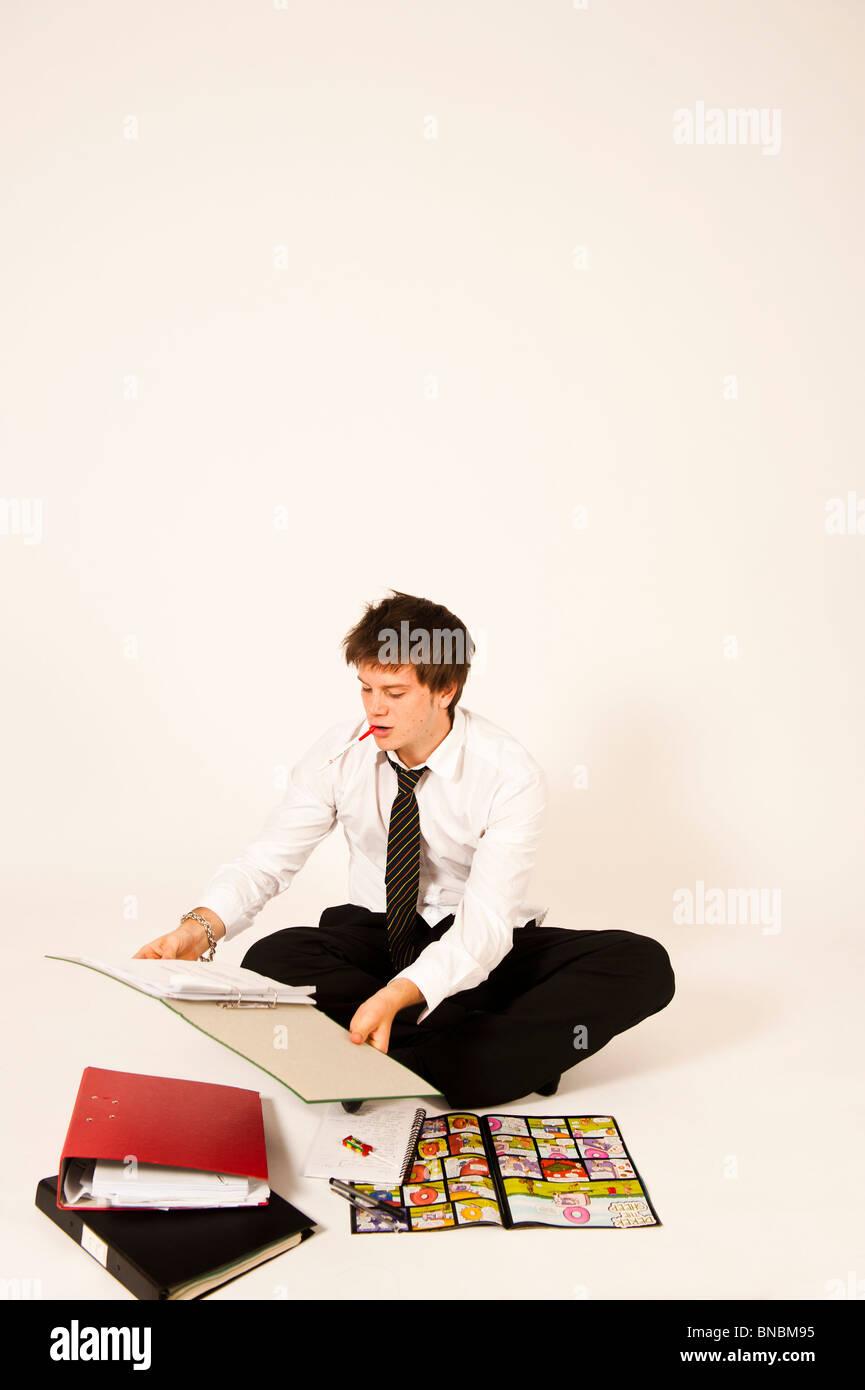 Teenage schoolboy looking at school homework - Stock Image