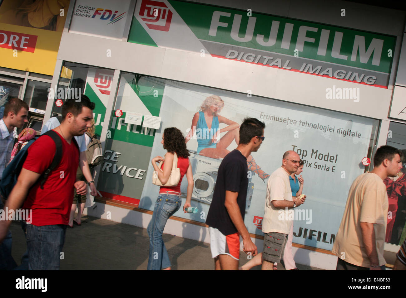 Fujifilm shop in street scene in Bucharest, Romania, July/ August 2006 - Stock Image