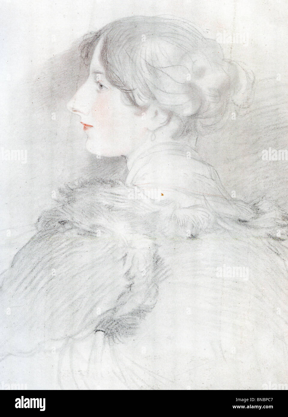 Pencil drawing of a lady stock image