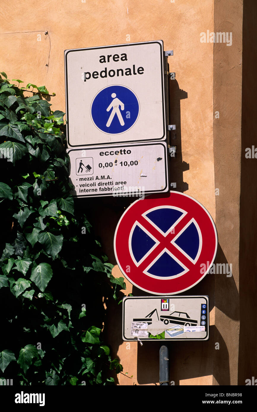 italy, rome, pedestrian area and no parking signs - Stock Image