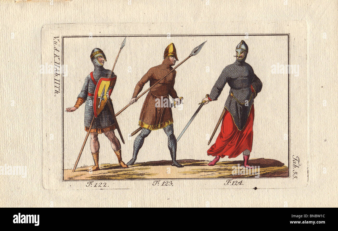Three Norman cavalry in chainmail suits of armor and helmets, carrying lances and swords. - Stock Image