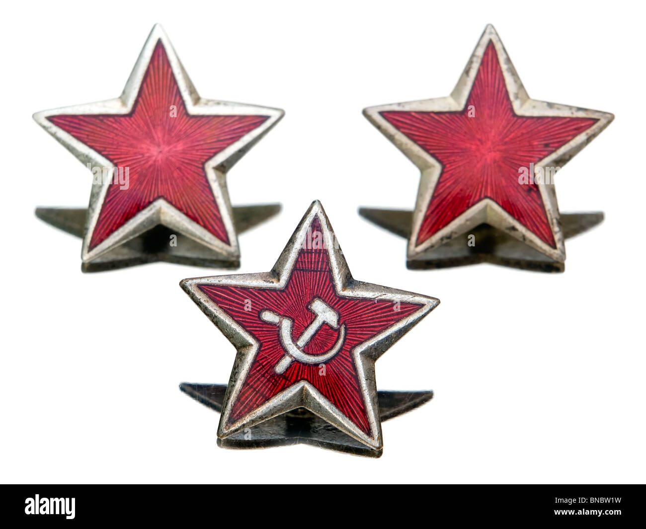 Three Communist star represent an old ideology... - Stock Image