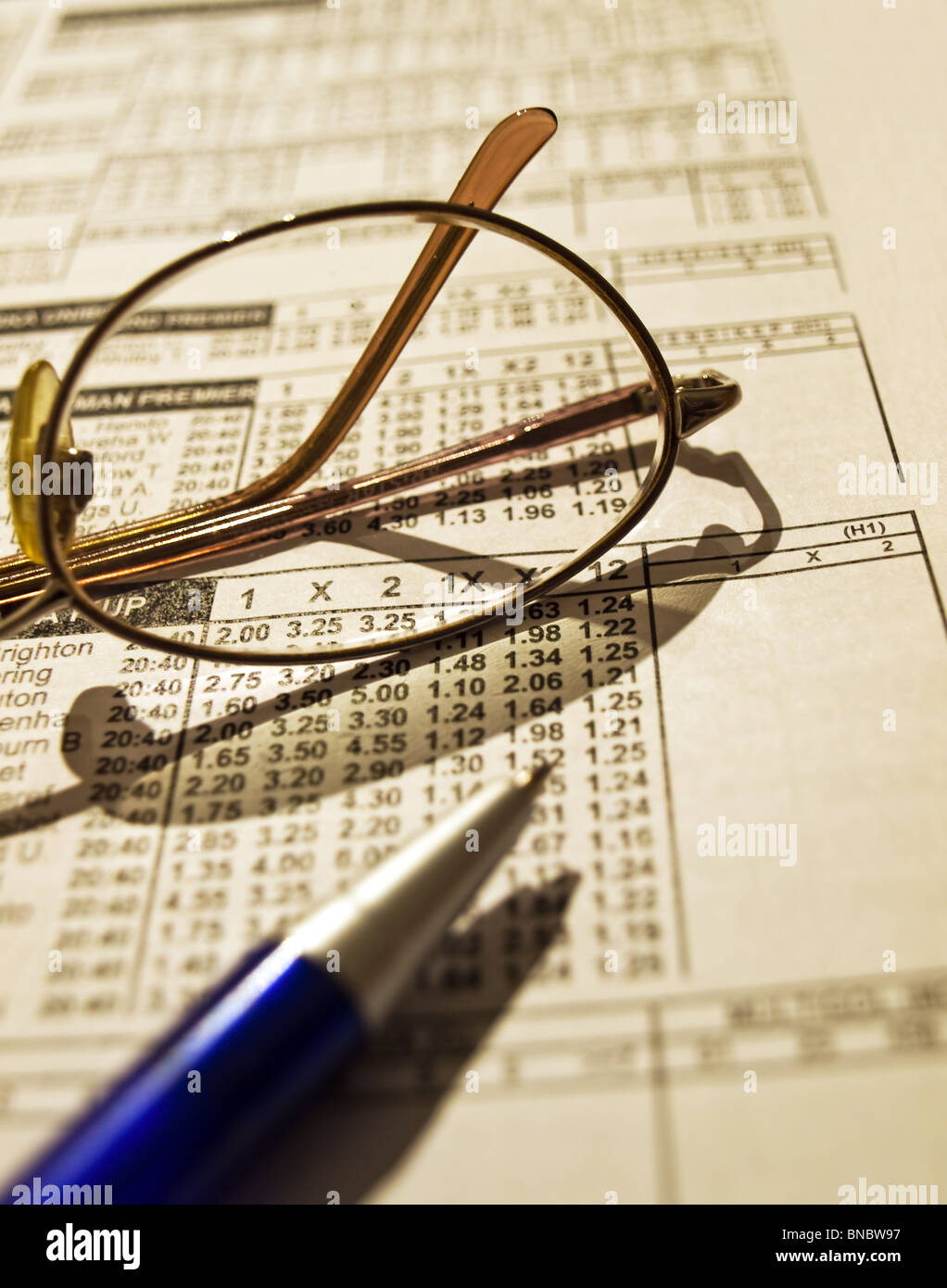 Betting odds list with an appropriate tools. - Stock Image