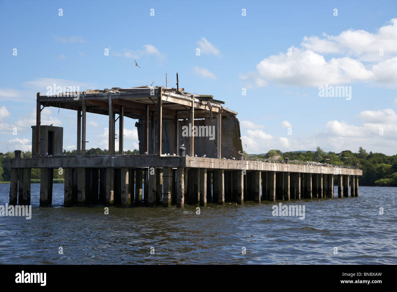 former world war 2 II torpedo production testing station now a common tern colony nature reserve on lough neagh - Stock Image