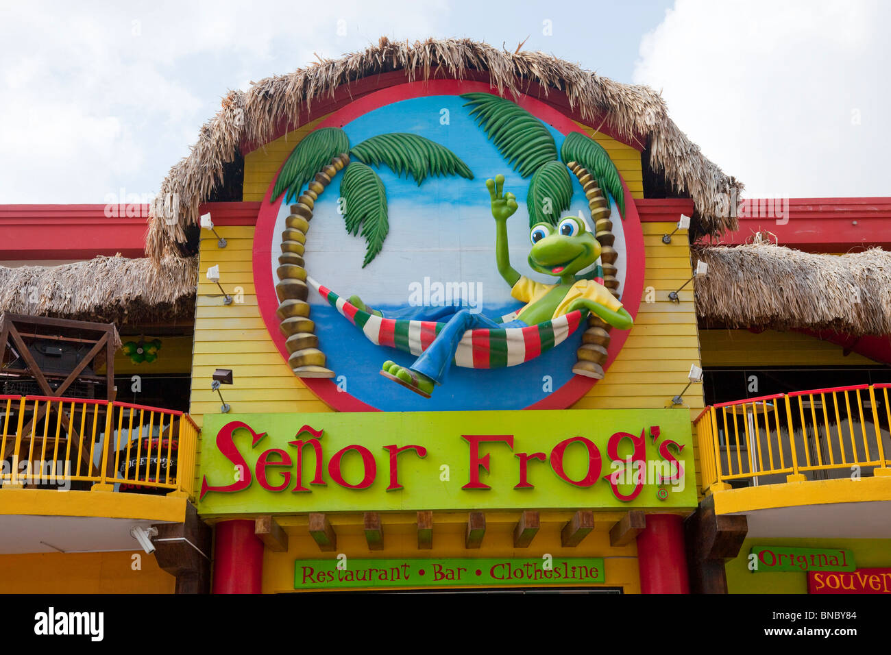The famous Senor Frogs restaurant and pub in Oranjestad, Aruba, Netherlands Antilles. - Stock Image
