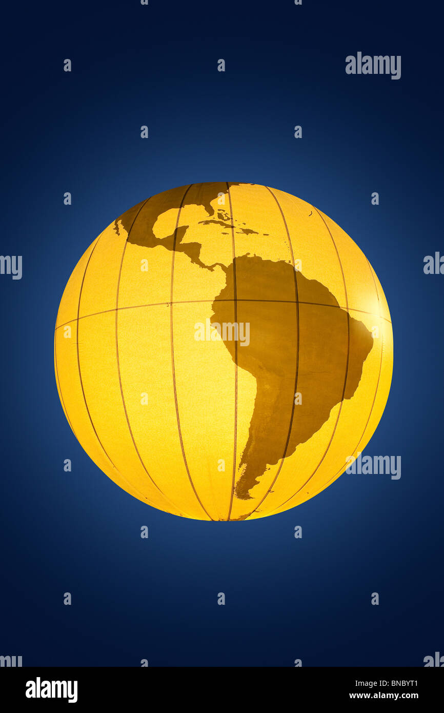 World Globe with map of South America - Stock Image