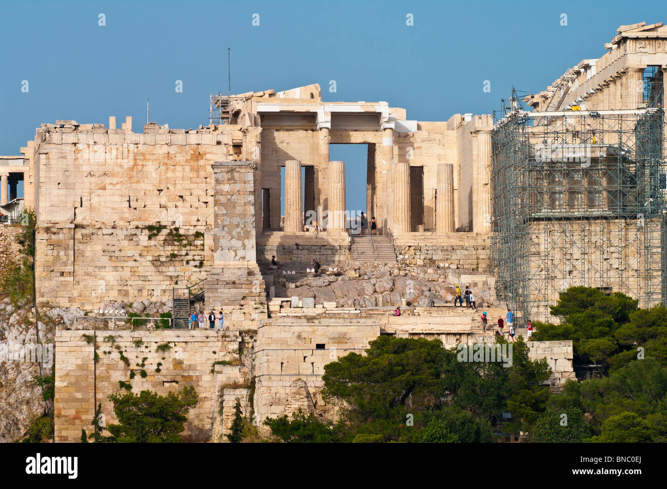 The Propylaea of the Athenian acropolis after renovation was completed in 2010. Viewed from the west. Stock Photo