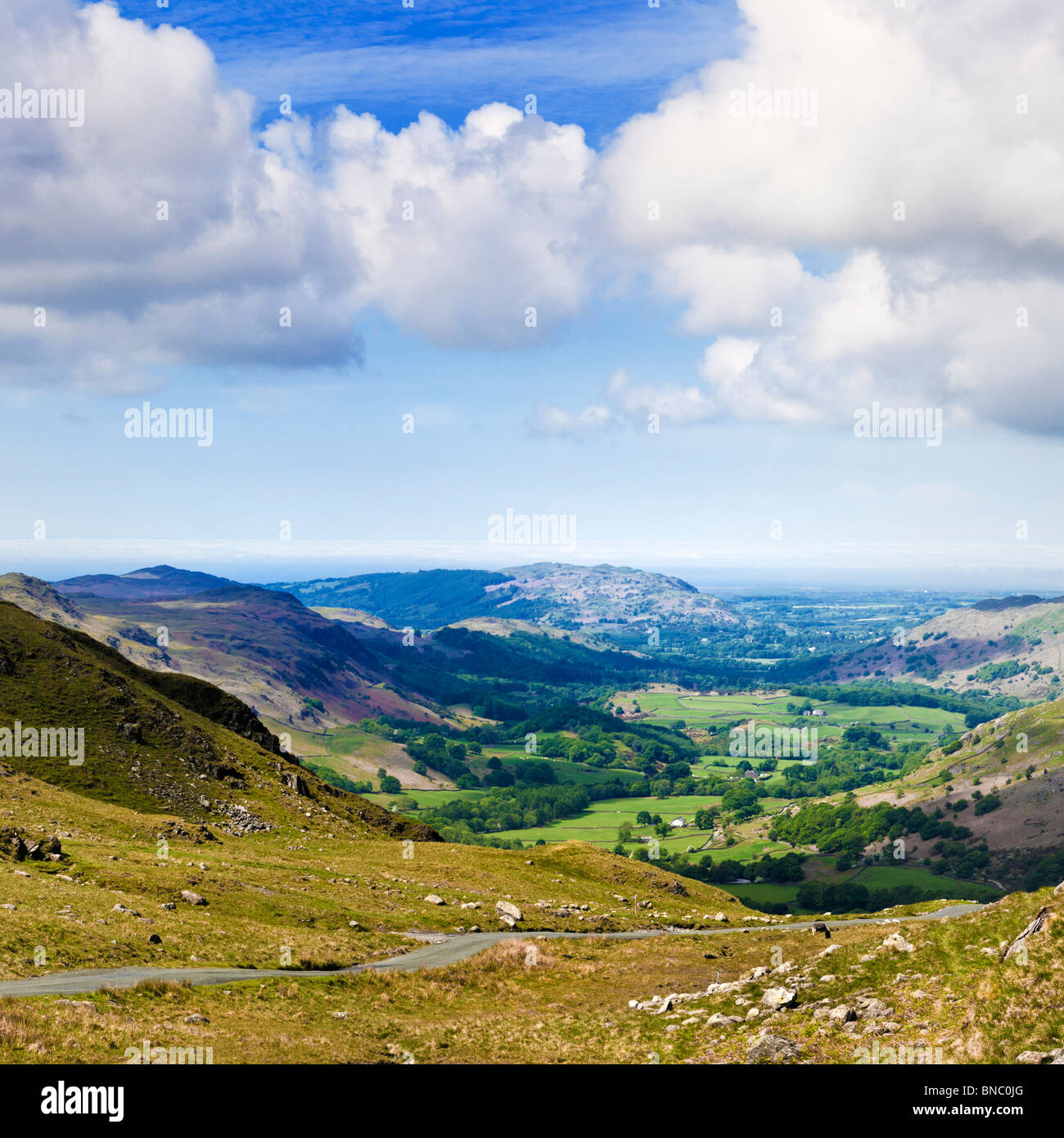 Eskdale Valley from Hardknott Pass The Lake District Cumbria England UK - Stock Image