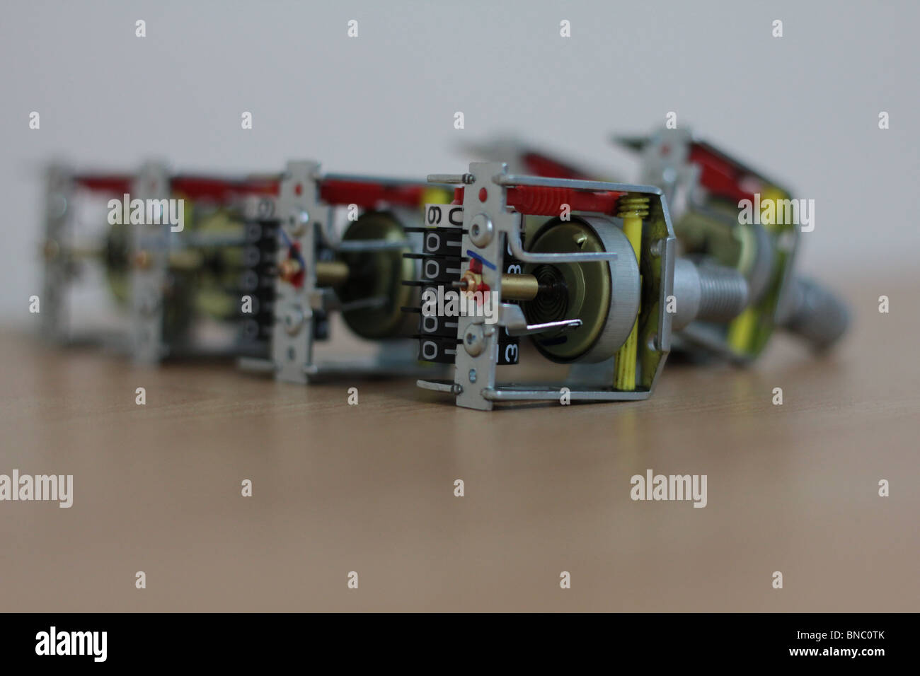 The Movement Assemblies of Automotive Speedometers - Stock Image