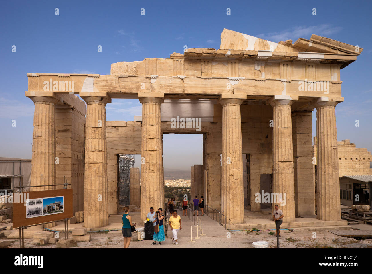 The Propylaea of the Athenian acropolis after renovation was completed in 2010. Viewed from the east. Stock Photo