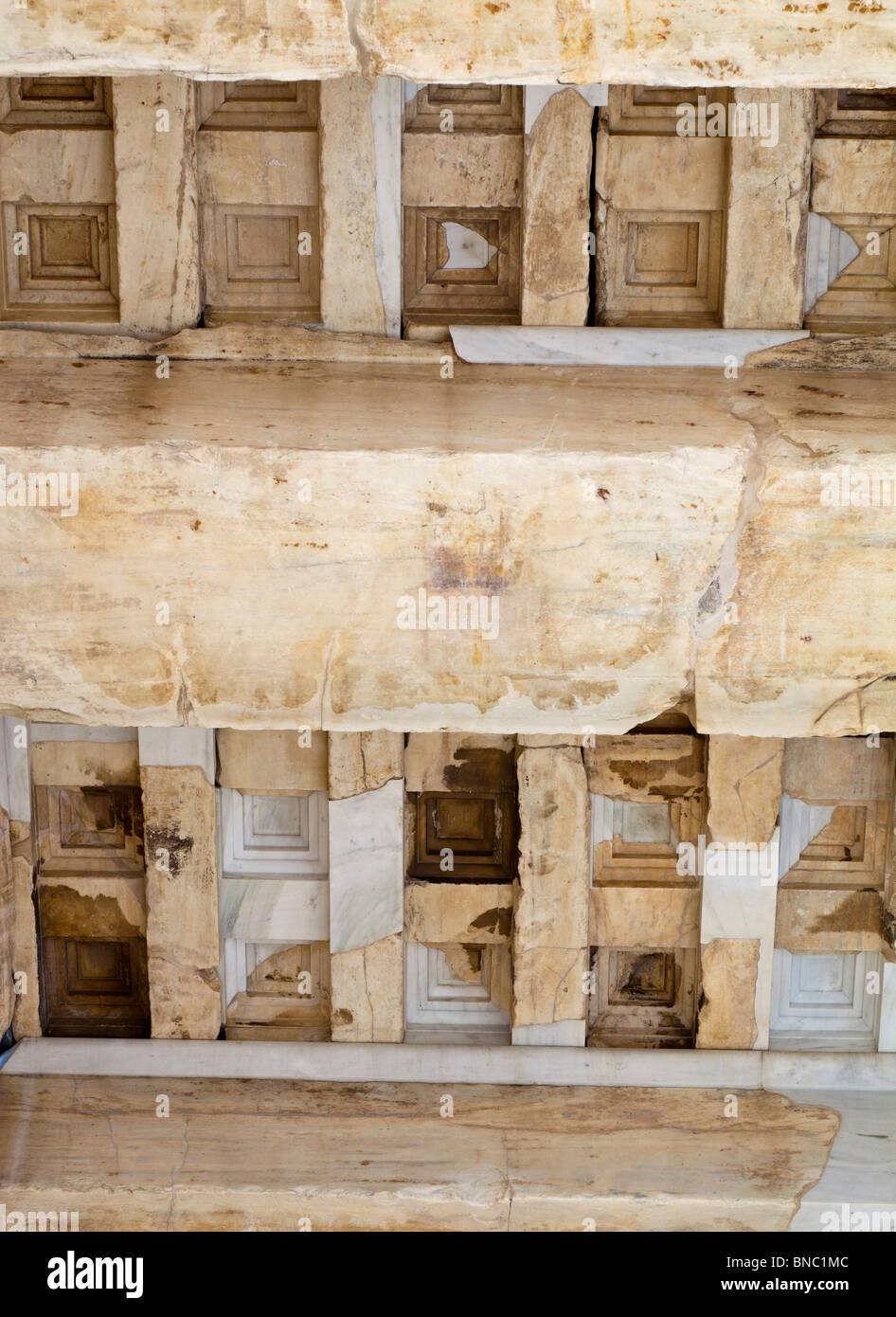 Ceiling coffers of the Propylaea of the Athenian acropolis after renovation was completed in 2010. Stock Photo