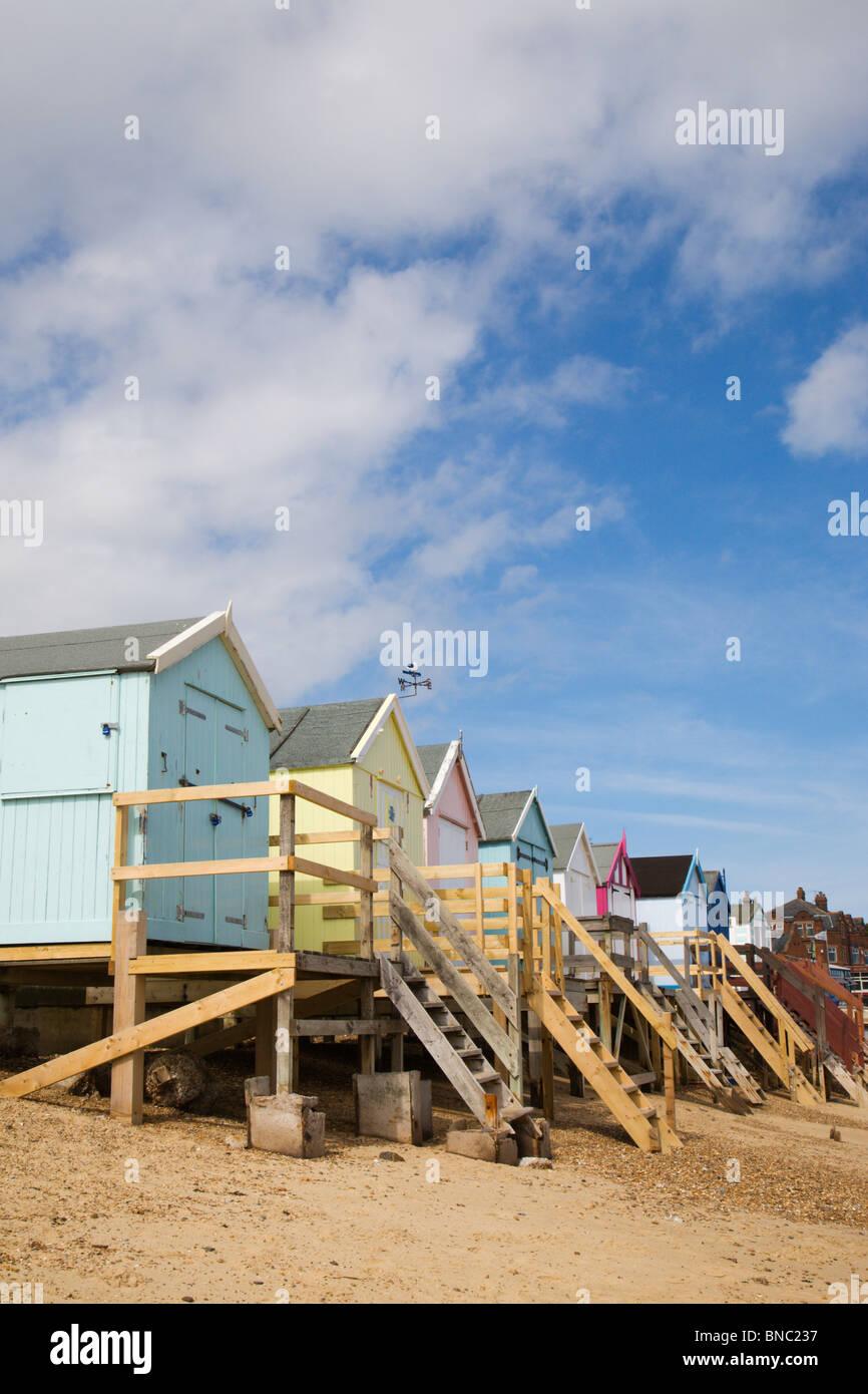 Beach Huts on Felixstowe beach in Suffolk, England. - Stock Image