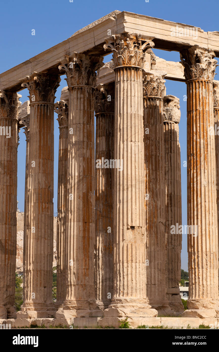 The Temple of Olympian Zeus in Athens, viewed from the southeast. - Stock Image