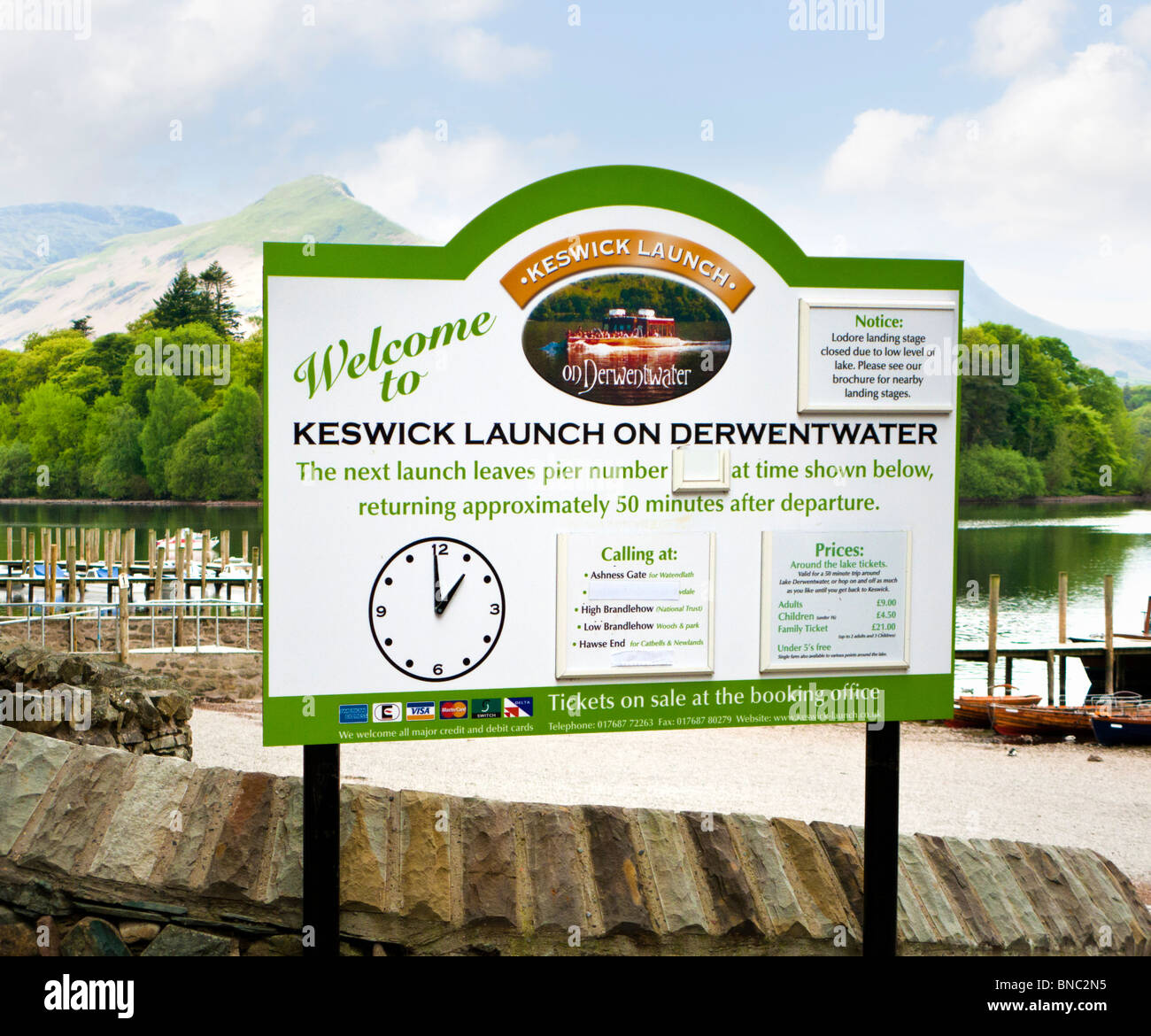 Keswick Launch information board at Derwentwater, The Lake District, Cumbria, England UK - Stock Image