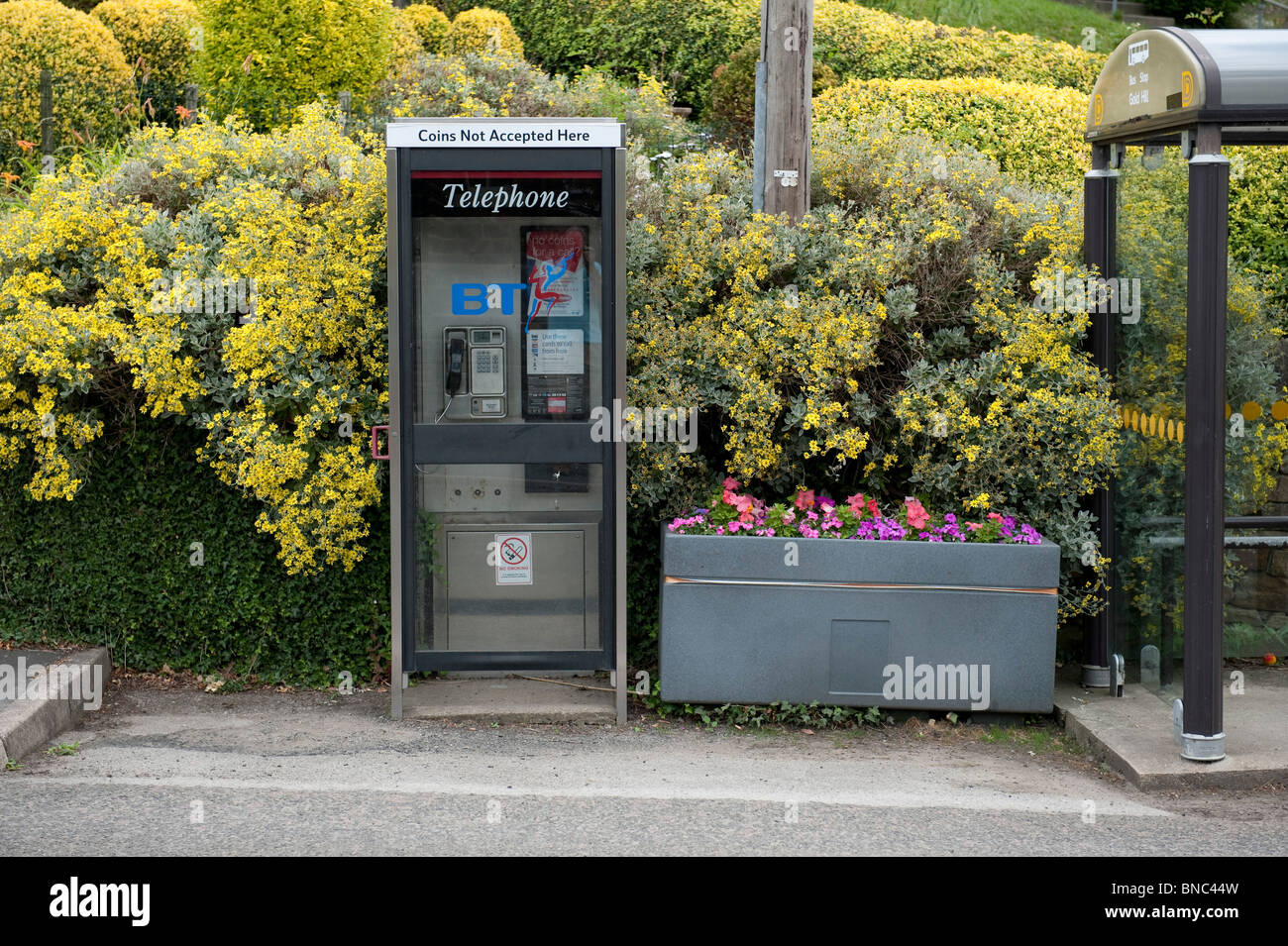 Telephone box with a flower tub in the village of Tansley, Derbyshire. - Stock Image