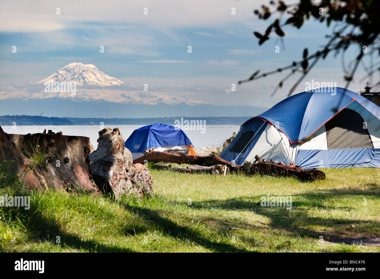 Primitive campsite on Blake Island Marine State Park with a spectacular view of majestic Mount Rainier. - Stock Image