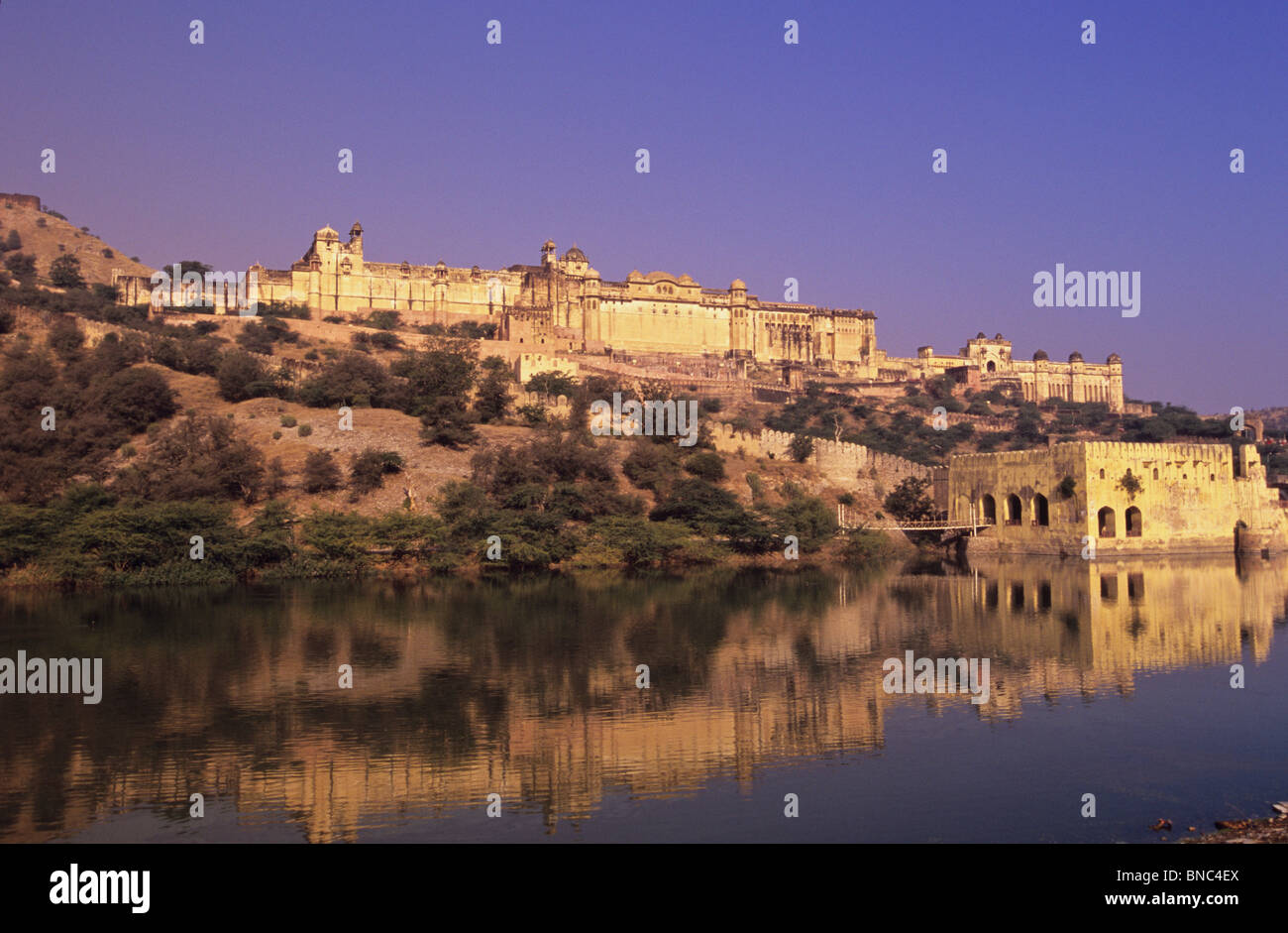 The magnificent Amber Fort whose name is derived from the goddess Amba Mata The Mother Earth near Jaipur Rajasthan - Stock Image