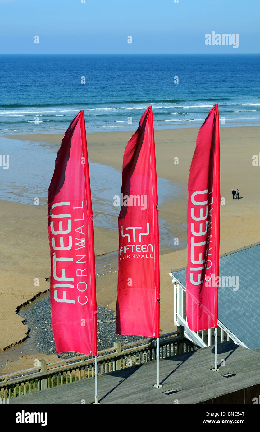 one of  ' Jamie Olivers '  ' Fifteen '  restaurants, this one is at Watergate bay near newquay in - Stock Image
