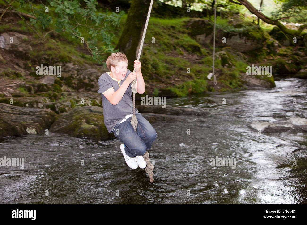 A Young Boy Playing On A Rope Swing Over The River Kent In Staveley