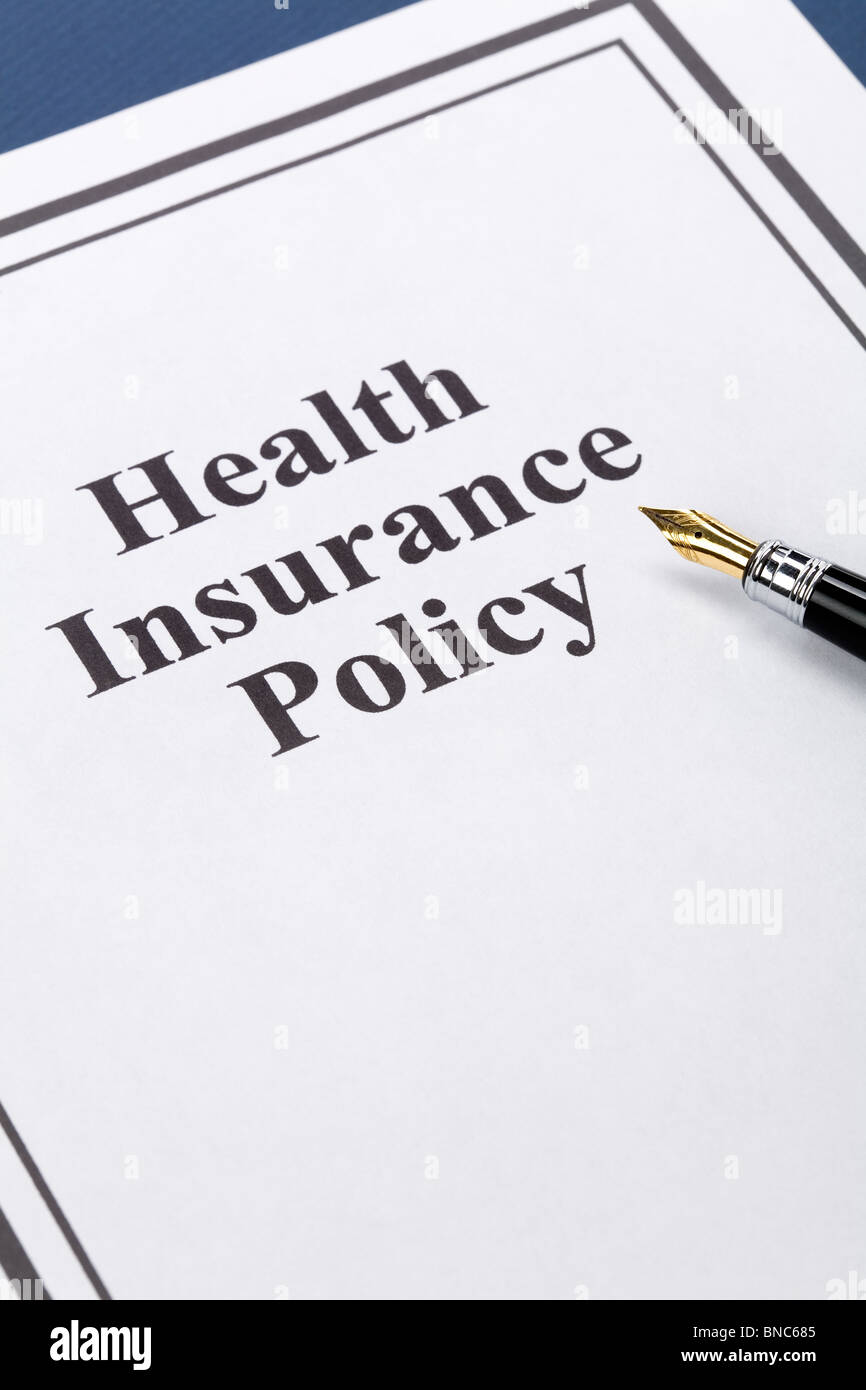 Document of Health Insurance Policy for background - Stock Image