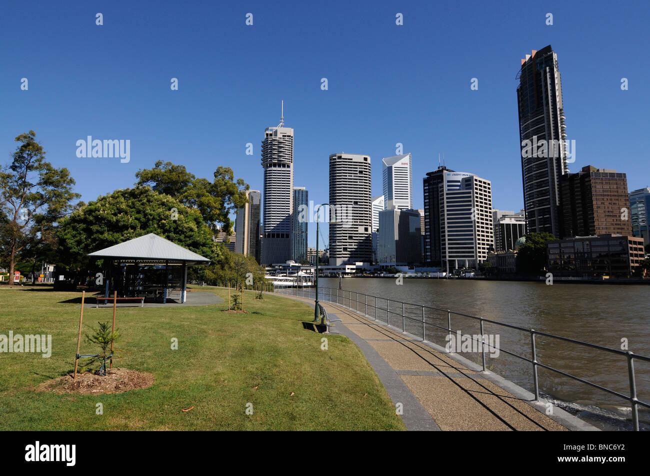 Brisbane's city skyline and business district on the Brisbane river. Queensland, Australia - Stock Image