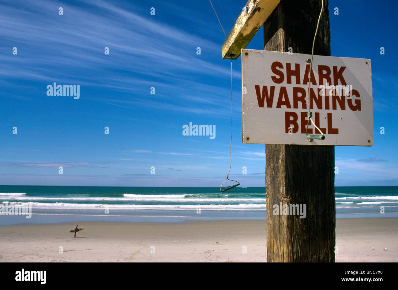 Dunedin New Zealand St Clair Beach Shark Warning Bell Stock Photo
