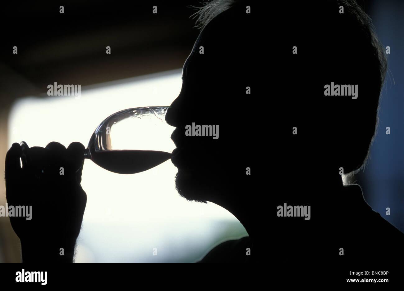 Wine taster in Edna Valley Central California - Stock Image