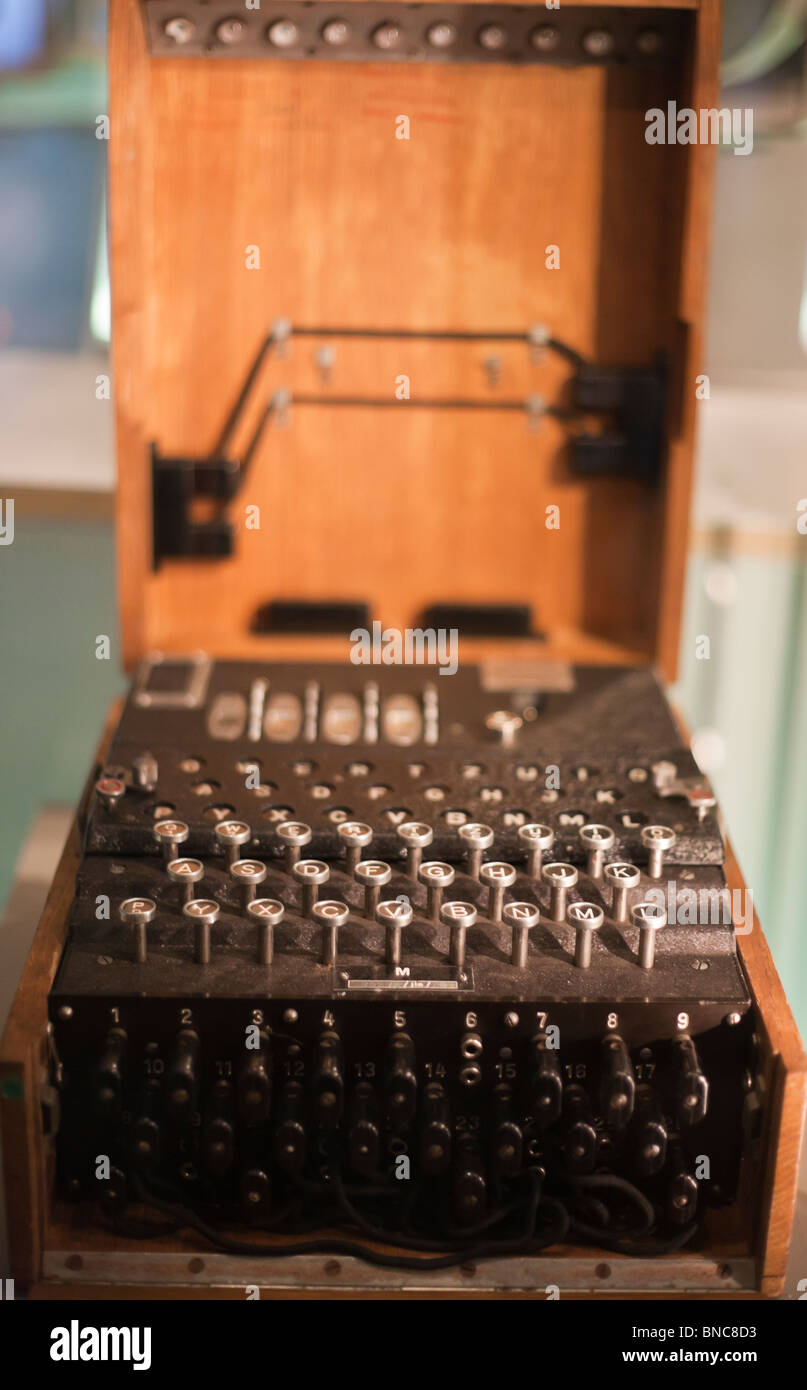 Enigma Machine. A German navy 4 wheel Enigma encryption machine. War Cabinet Rooms and Churchill , London, , United - Stock Image