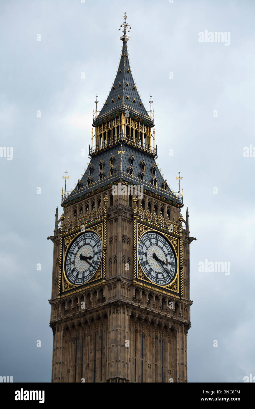 Two Faces of Big Ben. Two clock faces of the famous London landmark clock. Westminster Palace, London, , United - Stock Image