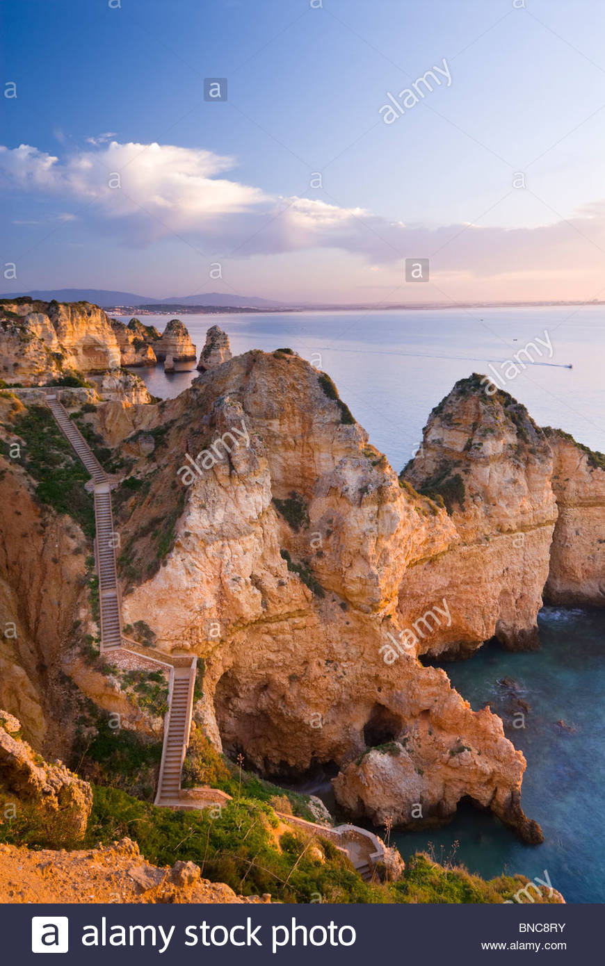 Steps leading down to the water at Ponta Da Piedade, Algarve, Portugal. - Stock Image