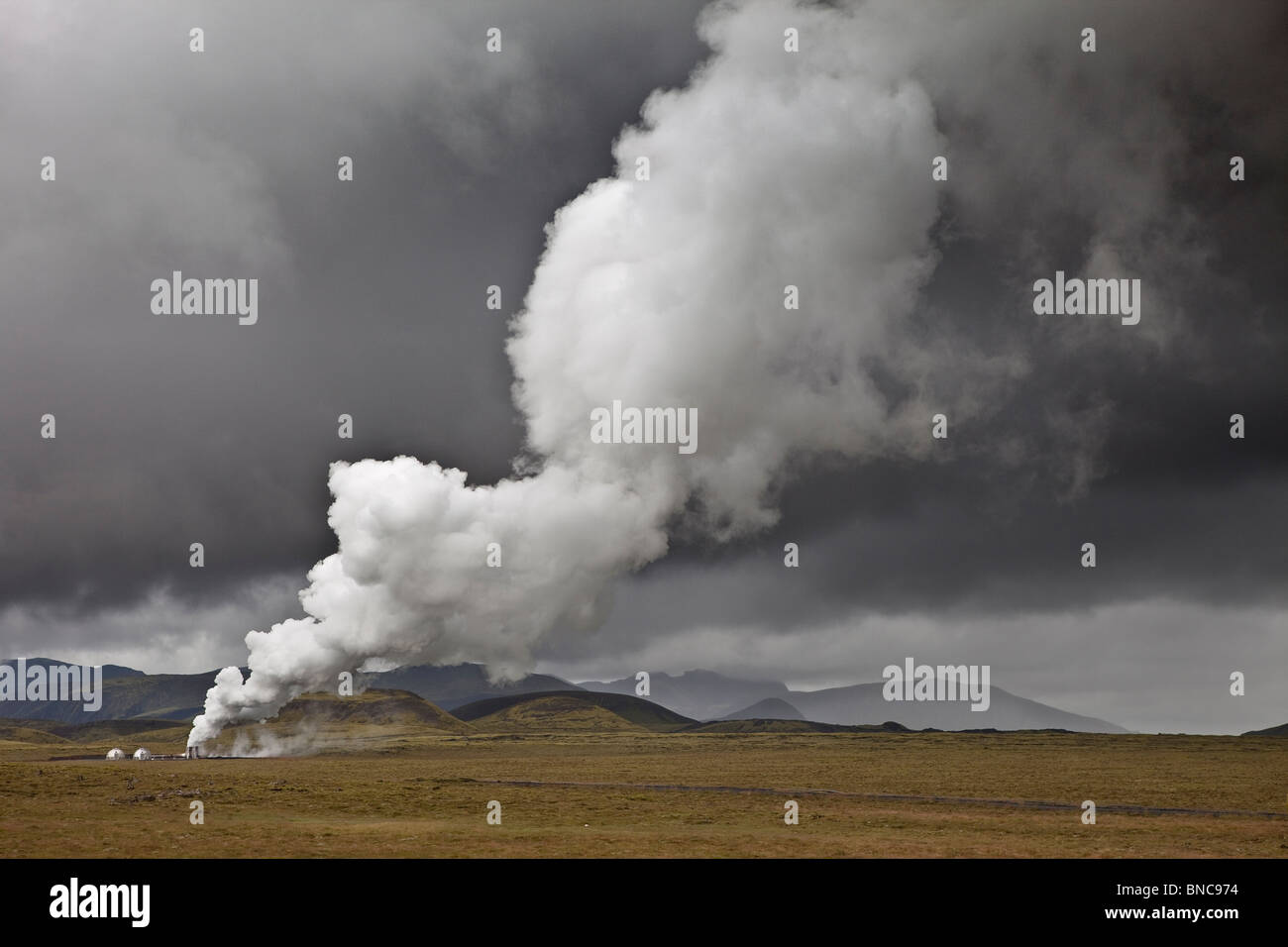 Geothermal hot springs steaming, South Coast, Iceland Stock Photo