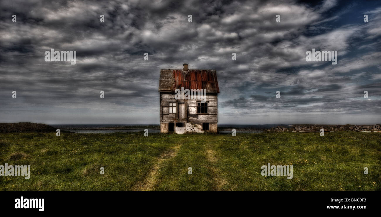 Abandon farm house, Melrakkasletta, Northern Iceland - Stock Image