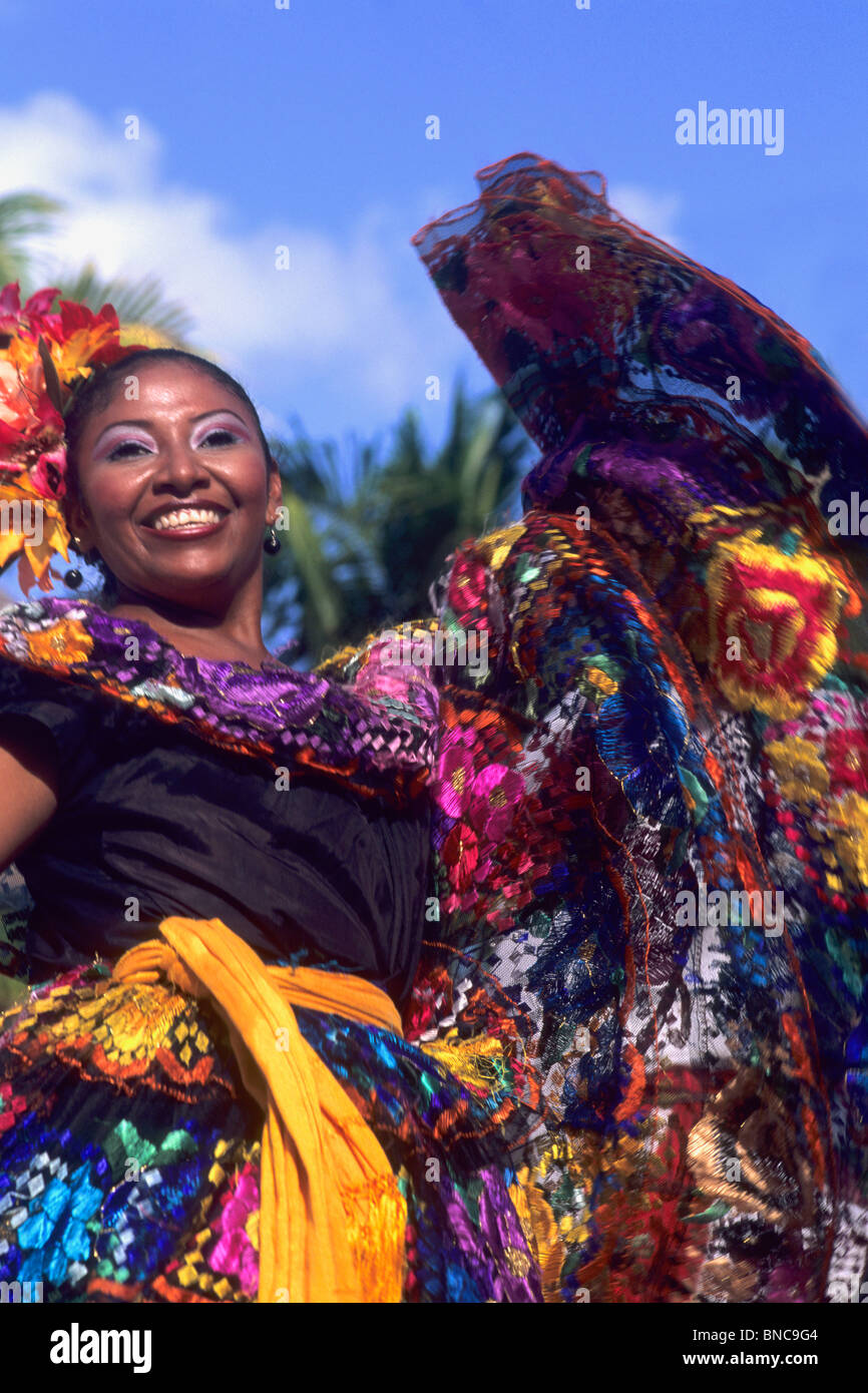 Colorful Mexican Dancers Performing in Costume in Costa Maya Mexico  - Stock Image