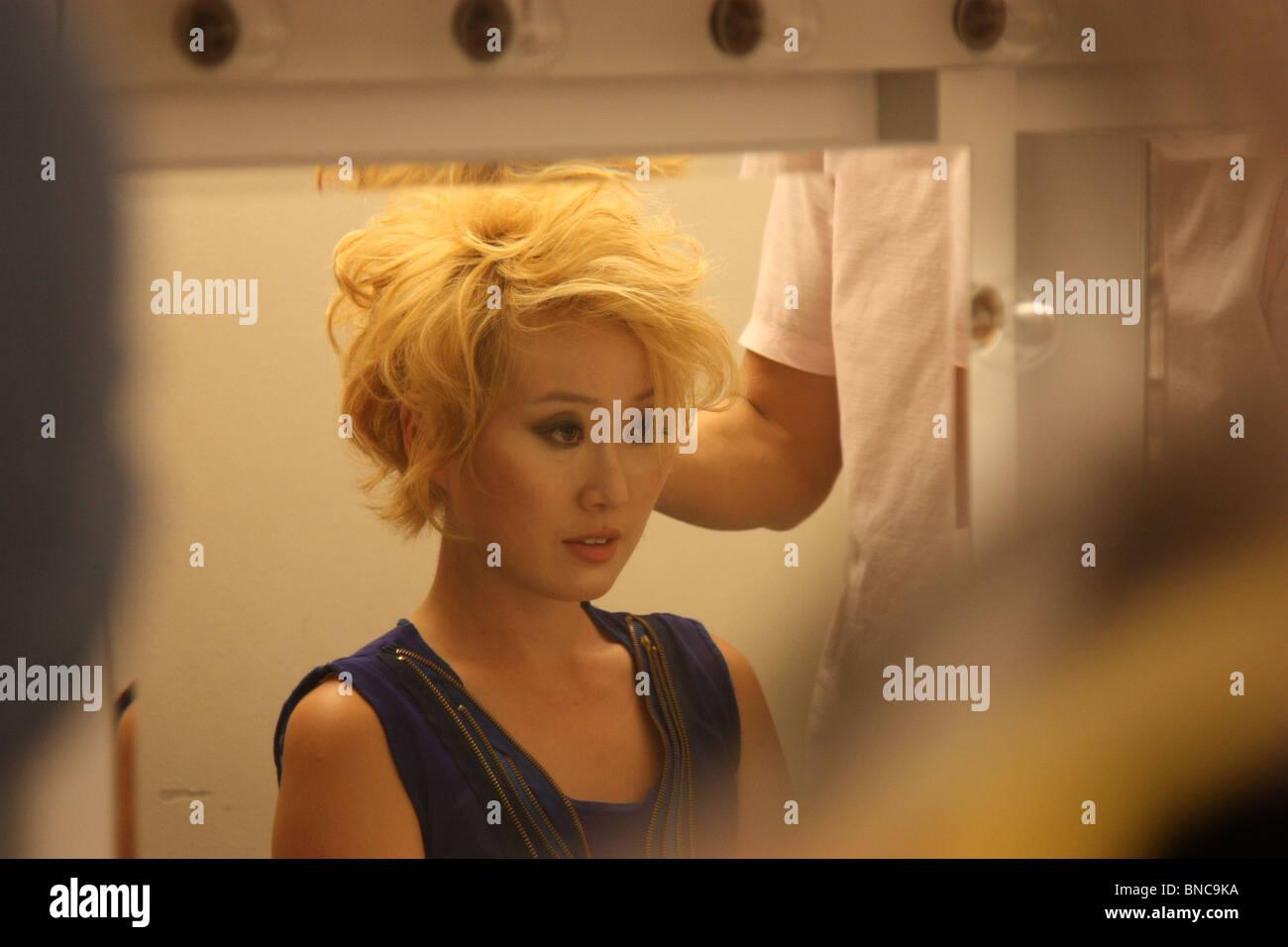 female hair mirror preparing backstage fashion - Stock Image