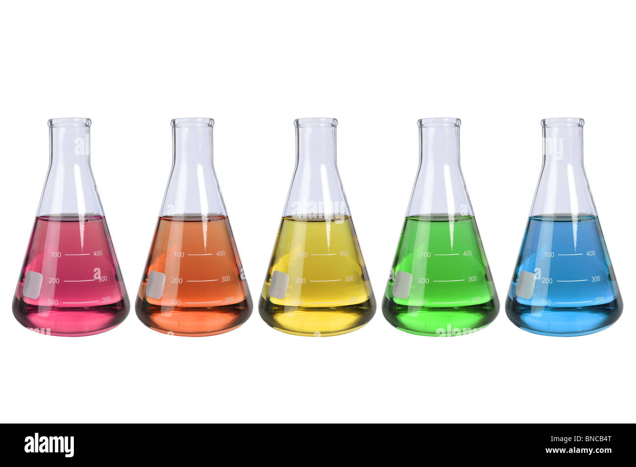 Laboratory flasks with fluids of different colors isolated over white background - Stock Image