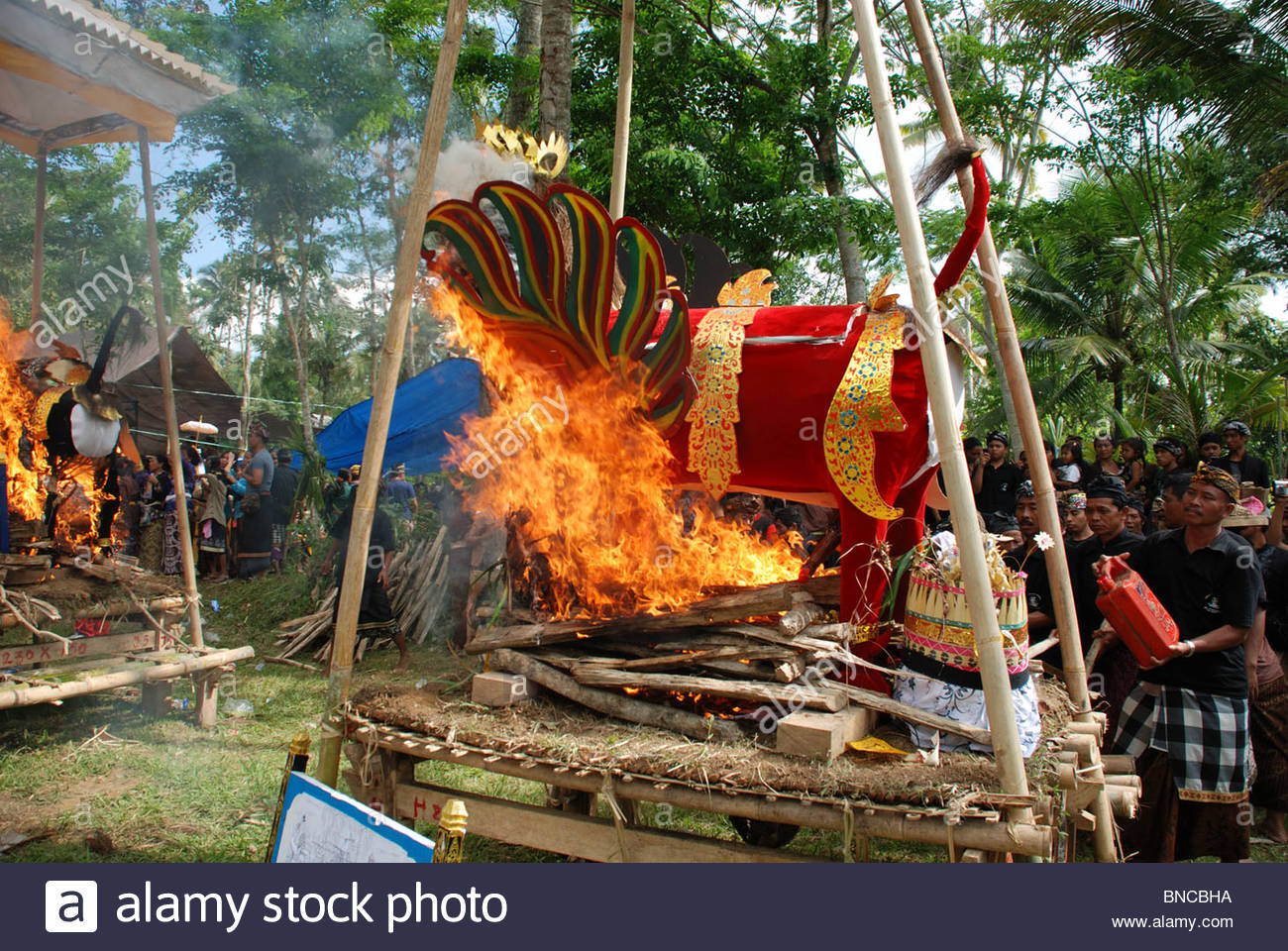 Ornate coffin in the form of a red winged bull is set on fire in Hindu mass cremation ceremony - Stock Image