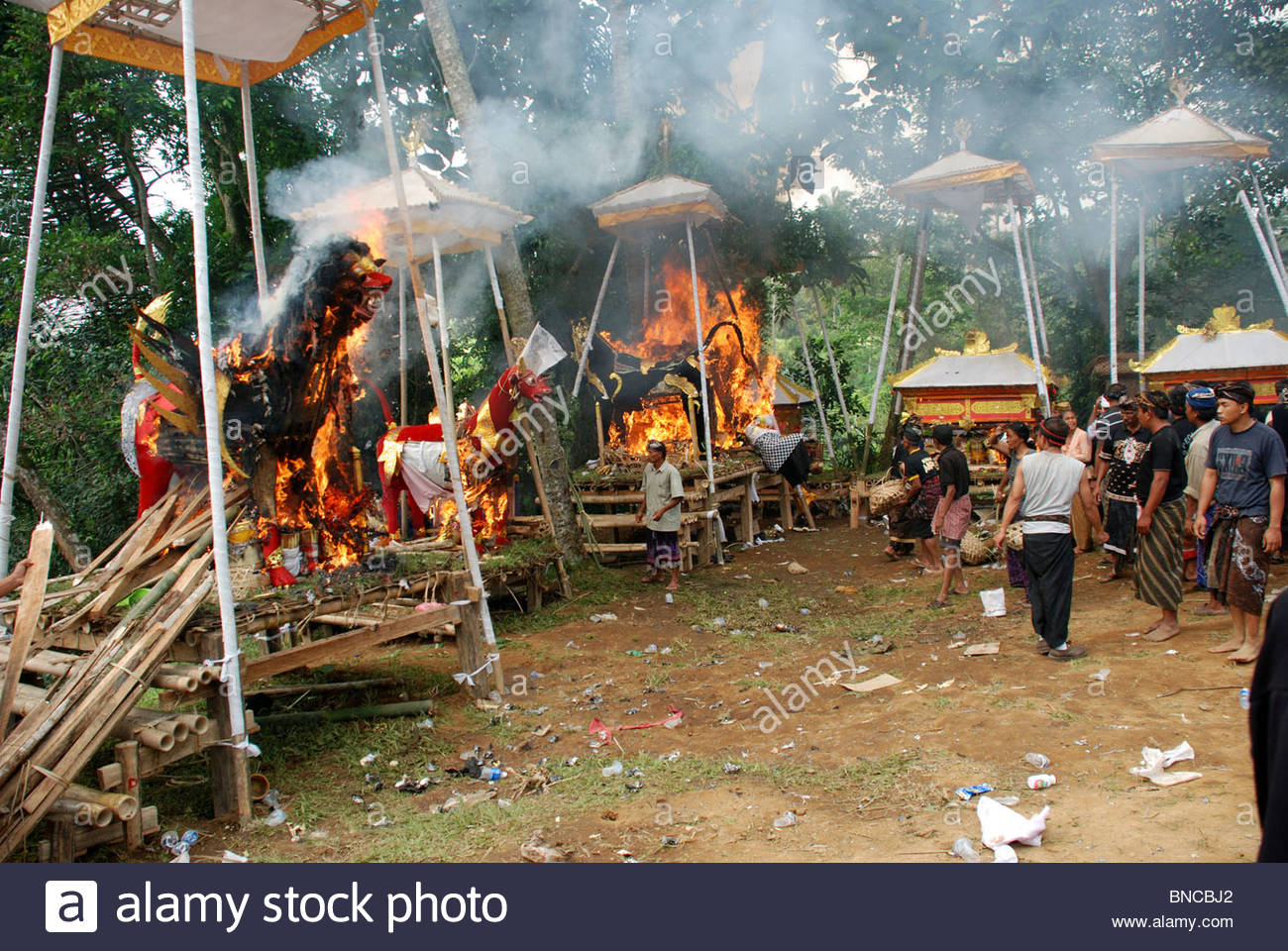 Ornate coffins in the form of animals blaze in mass Hindu cremation ceremony Bangli Bali Indonesia - Stock Image