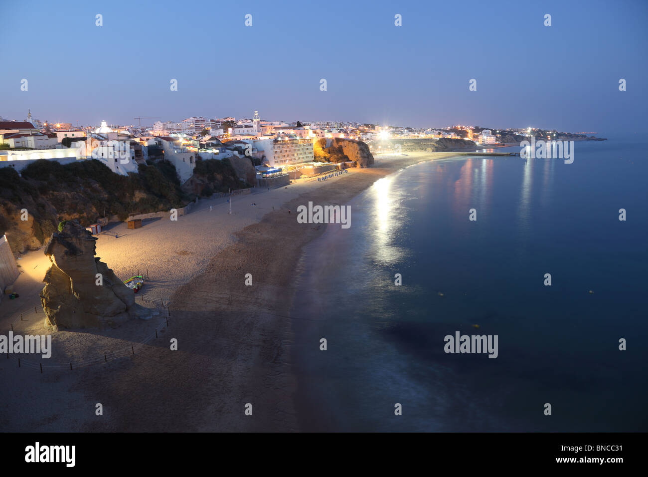 Atlantic coast and beach at Albufeira in Algarve, Portugal Stock Photo