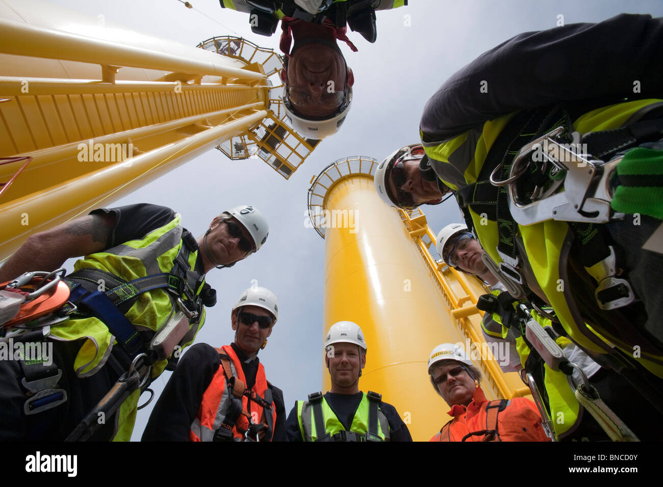 Workers training to work at height at Dong Energy's shore base in Barrow in Furness for the Walney off shore - Stock Image