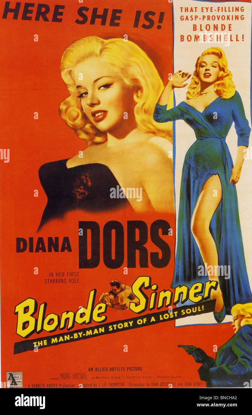 BLONDE SINNER aka Yield To The Night - Poster for 1956  ABP film with Diana Dors  loosely based on the Ruth Ellis Stock Photo