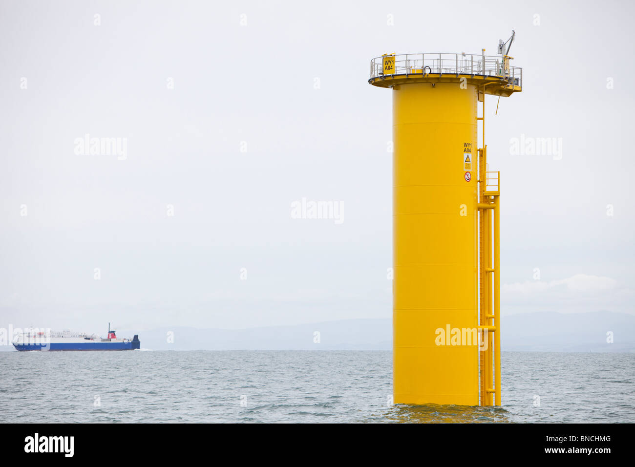 Dong Energy's construction of the new Walney off shore wind farm. - Stock Image