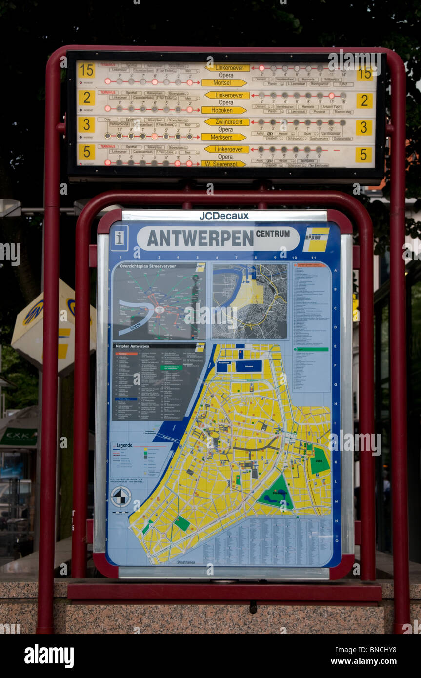 Tram and tourist information display at the Opera stop in Antwerp, Belgium - Stock Image